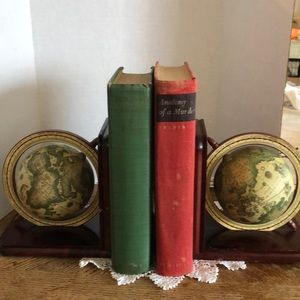 Vintage globe bookends